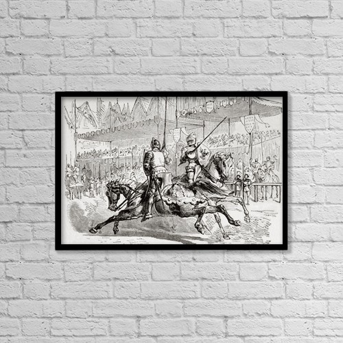"Printscapes Wall Art: 18"" x 12"" Canvas Print With Black Frame - Bertrand Du Guesclin, C. 1320 by Ken Welsh"