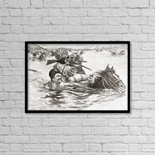 "Printscapes Wall Art: 18"" x 12"" Canvas Print With Black Frame - Cossacks Swimming Their Horses Across A River by Ken Welsh"