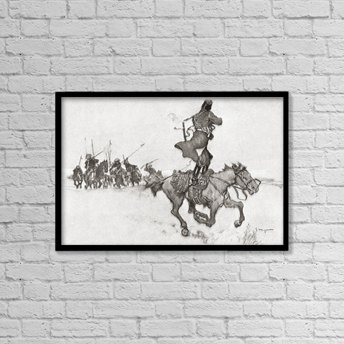 """Printscapes Wall Art: 18"""" x 12"""" Canvas Print With Black Frame - A Cossack Firing From Horseback On His Pursuers by Ken Welsh"""
