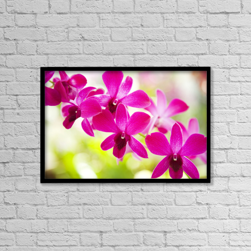 "Printscapes Wall Art: 18"" x 12"" Canvas Print With Black Frame - Hawaii, Closeup Of Orchid Lei by Dana Edmunds"