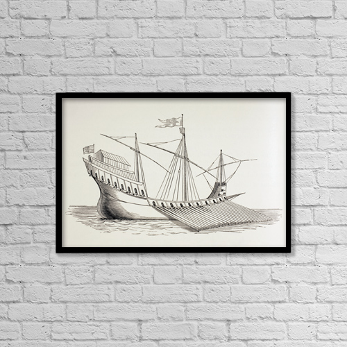 "Printscapes Wall Art: 18"" x 12"" Canvas Print With Black Frame - 16Th Century Galley by Ken Welsh"