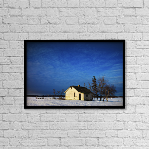 """Printscapes Wall Art: 18"""" x 12"""" Canvas Print With Black Frame - An Abandoned Homestead On A Snow Covered Field by Steve Nagy"""
