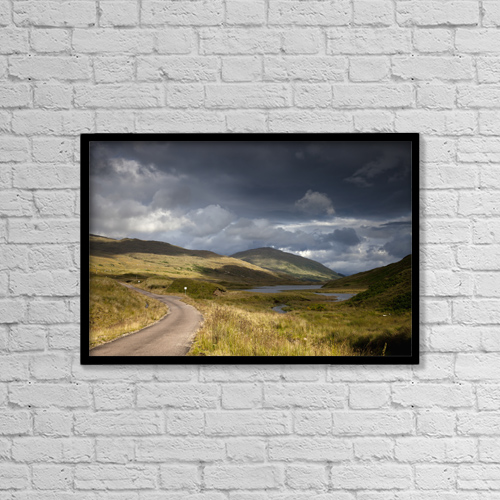 """Printscapes Wall Art: 18"""" x 12"""" Canvas Print With Black Frame - A Road Curving Through A Mountainous Landscape by John Short"""