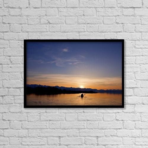"Printscapes Wall Art: 18"" x 12"" Canvas Print With Black Frame - Alaska, Juneau, Favorite Passage by John Hyde"