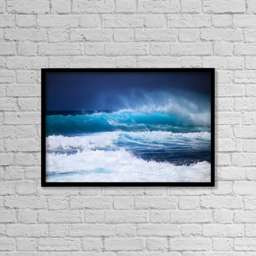 "Printscapes Wall Art: 18"" x 12"" Canvas Print With Black Frame - Hawaii, Oahu, Beautiful Wave Breaking by Tomas del Amo"