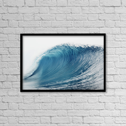 "Printscapes Wall Art: 18"" x 12"" Canvas Print With Black Frame - Hawaii, Oahu, Pipeline, Wave Breaking by Vince Cavataio"