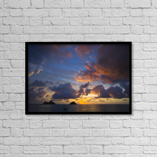 "Printscapes Wall Art: 18"" x 12"" Canvas Print With Black Frame - USA, Hawaii, Lanikai, Clouds At Sunrise by Dana Edmunds"