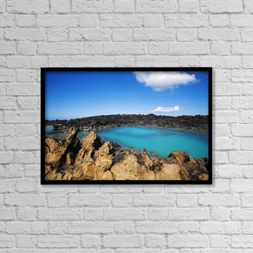 """Printscapes Wall Art: 18"""" x 12"""" Canvas Print With Black Frame - Blue pond; Ahihi Kinau Natural Reserve by Ron Dahlquist"""