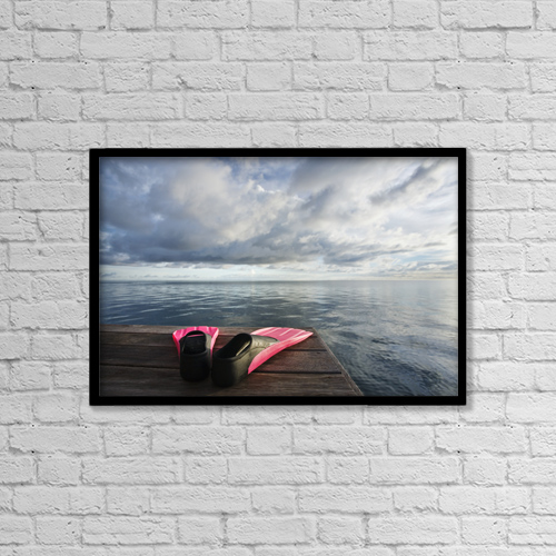 "Printscapes Wall Art: 18"" x 12"" Canvas Print With Black Frame - Hawaii, Pink Fins On Dock At Sunset by M Swiet Productions"