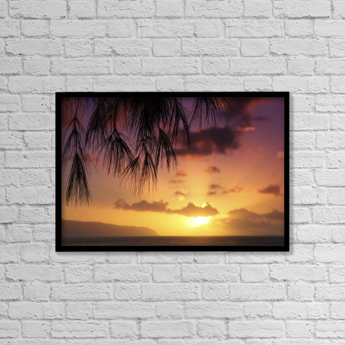 "Printscapes Wall Art: 18"" x 12"" Canvas Print With Black Frame - Hawaii, Oahu, Beautiful Sunset by Vince Cavataio"