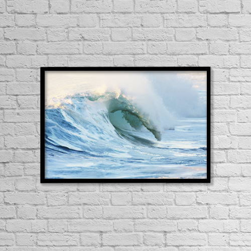"""Printscapes Wall Art: 18"""" x 12"""" Canvas Print With Black Frame - Hawaii, Oahu, Beautiful Wave Breaking by Vince Cavataio"""