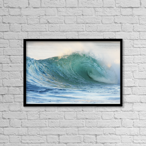 "Printscapes Wall Art: 18"" x 12"" Canvas Print With Black Frame - Hawaii, Oahu, Beautiful Wave Breaking by Vince Cavataio"