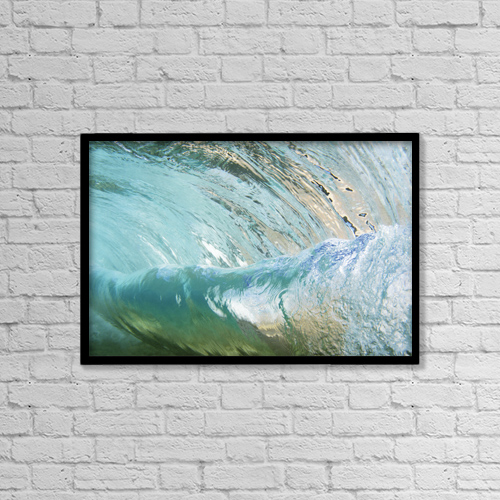 "Printscapes Wall Art: 18"" x 12"" Canvas Print With Black Frame - Hawaii, Underwater View Of Wave by Vince Cavataio"
