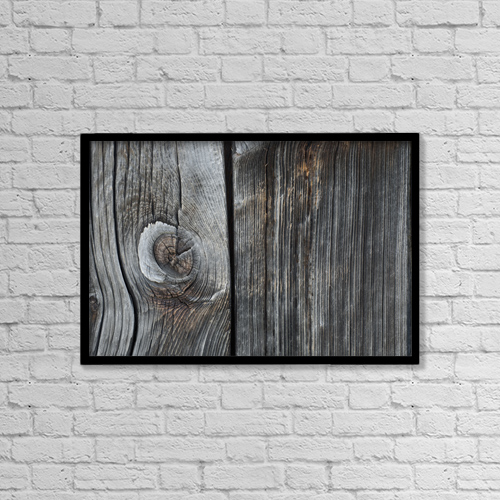 """Printscapes Wall Art: 18"""" x 12"""" Canvas Print With Black Frame - Old Wood On A Barn by David Chapman"""