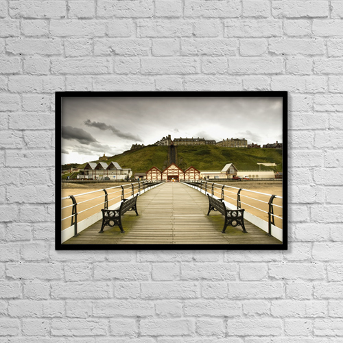 "Printscapes Wall Art: 18"" x 12"" Canvas Print With Black Frame - Benches Along A Pier by John Short"