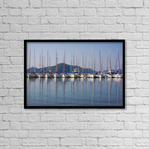 """Printscapes Wall Art: 18"""" x 12"""" Canvas Print With Black Frame - Yachts Docked In The Harbor by Christine Giles"""