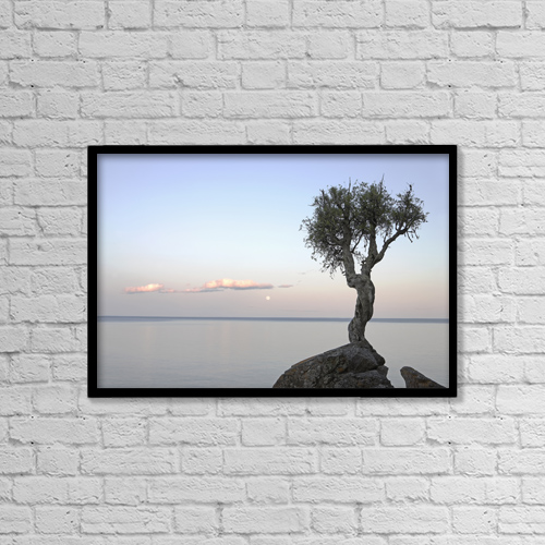 "Printscapes Wall Art: 18"" x 12"" Canvas Print With Black Frame - A Lone Tree On Lake Superior by Susan Dykstra"