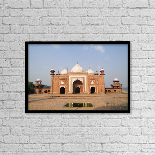 "Printscapes Wall Art: 18"" x 12"" Canvas Print With Black Frame - India, Next to Taj Mahal by Bill Bachmann"