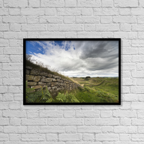 "Printscapes Wall Art: 18"" x 12"" Canvas Print With Black Frame - Hadrian's Wall; Northumberland, England by John Short"
