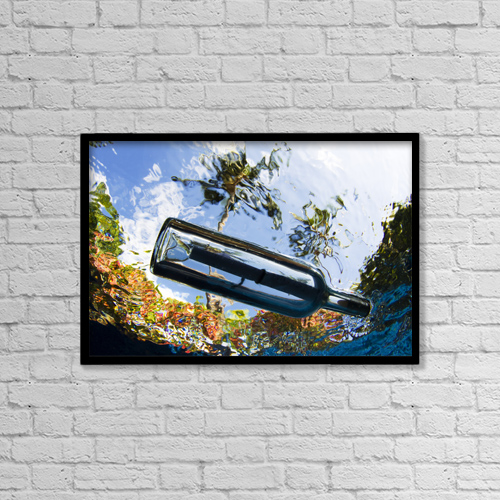 "Printscapes Wall Art: 18"" x 12"" Canvas Print With Black Frame - USA, Underwater View Of Message In Bottle by Dave Fleetham"