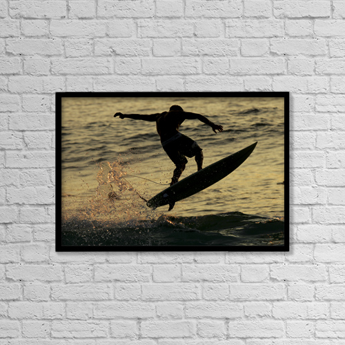 "Printscapes Wall Art: 18"" x 12"" Canvas Print With Black Frame - Hawaii, Big Island, Kona, Surfer At Sunset by Jody Watt"