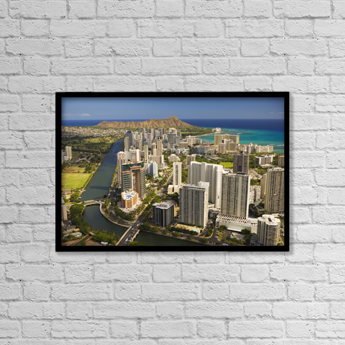 "Printscapes Wall Art: 18"" x 12"" Canvas Print With Black Frame - USA, Hawaii, Oahu, Aerial view of Waikiki by Dana Edmunds"
