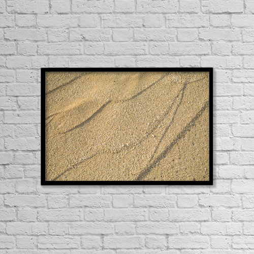 "Printscapes Wall Art: 18"" x 12"" Canvas Print With Black Frame - Close-Up Of Patterns In Sand by Dana Edmunds"