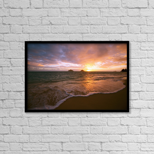 "Printscapes Wall Art: 18"" x 12"" Canvas Print With Black Frame - Hawaii, Oahu, Lanikai Beach At Sunrise by Tomas del Amo"