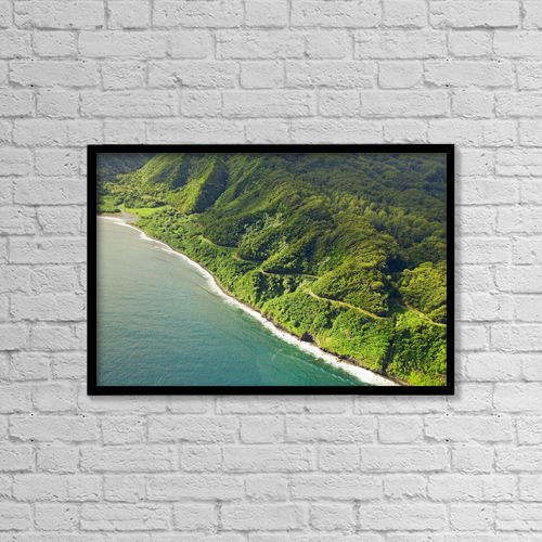 """Printscapes Wall Art: 18"""" x 12"""" Canvas Print With Black Frame - USA, Hawaii, Aerial view of road to Hana by Ron Dahlquist"""