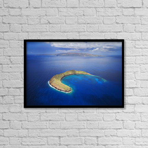 "Printscapes Wall Art: 18"" x 12"" Canvas Print With Black Frame - USA, Hawaii, Molokini and Kaho'olawe; Maui by Ron Dahlquist"