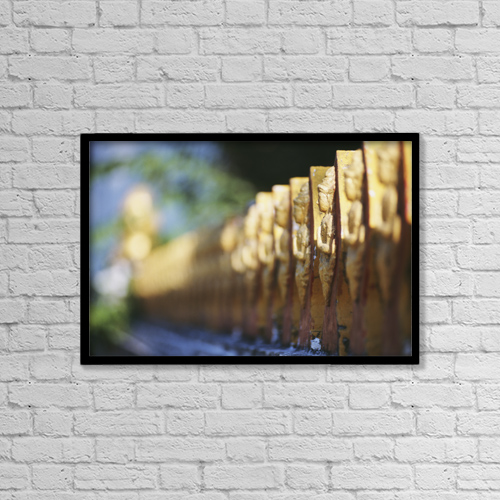 "Printscapes Wall Art: 18"" x 12"" Canvas Print With Black Frame - Laos, Luang Prabang, Detail Of Temple Fence by Allan Seiden"
