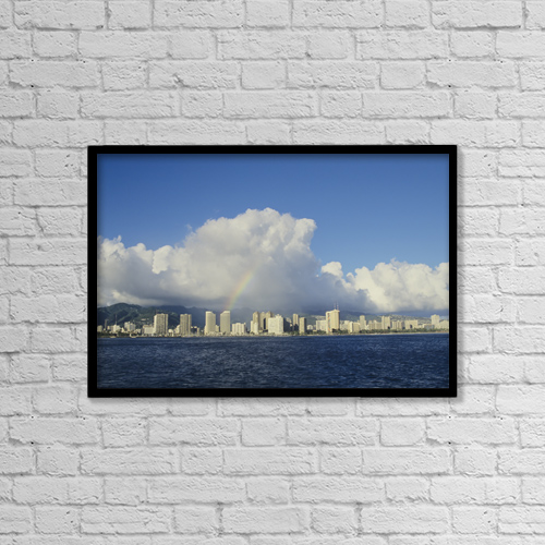"Printscapes Wall Art: 18"" x 12"" Canvas Print With Black Frame - USA, Hawaii, Oahu, Rainbow over Waikiki by Chris Abraham"