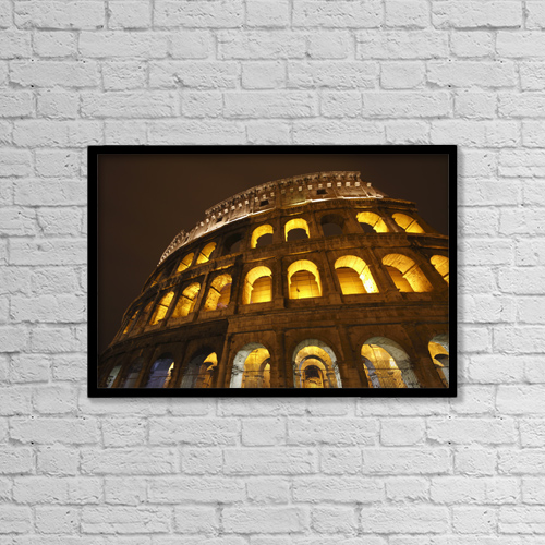 "Printscapes Wall Art: 18"" x 12"" Canvas Print With Black Frame - Night Lights Of The Colosseum by Trish Punch"