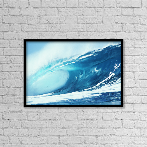 "Printscapes Wall Art: 18"" x 12"" Canvas Print With Black Frame - Hawaii, Wave Tube Forming by Liysa Swart"