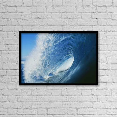 """Printscapes Wall Art: 18"""" x 12"""" Canvas Print With Black Frame - Hawaii, Inside Curling Blue Wave by Liysa Swart"""