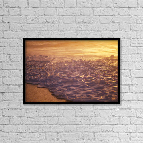 "Printscapes Wall Art: 18"" x 12"" Canvas Print With Black Frame - Hawaii, Sea Foam At Shoreline, Sunset by Liysa Swart"