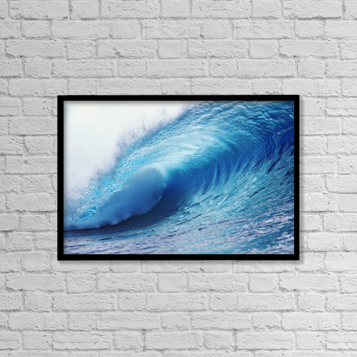 "Printscapes Wall Art: 18"" x 12"" Canvas Print With Black Frame - Hawaii, Crystal Ice Blue Wave by Liysa Swart"