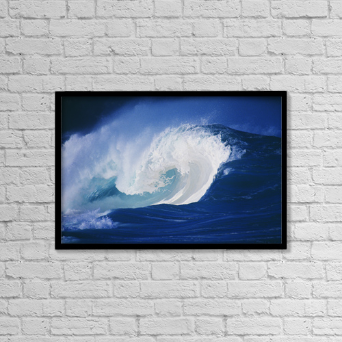 "Printscapes Wall Art: 18"" x 12"" Canvas Print With Black Frame - Hawaii, Powerful Wave, White Water by Liysa Swart"