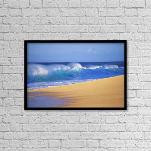 "Printscapes Wall Art: 18"" x 12"" Canvas Print With Black Frame - Shorebreak Waves Along Sandy Beach, Blue Sky by Liysa Swart"