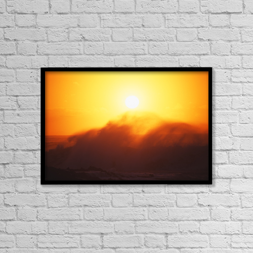 "Printscapes Wall Art: 18"" x 12"" Canvas Print With Black Frame - Hawaii, Big Waves At Sundown by Vince Cavataio"