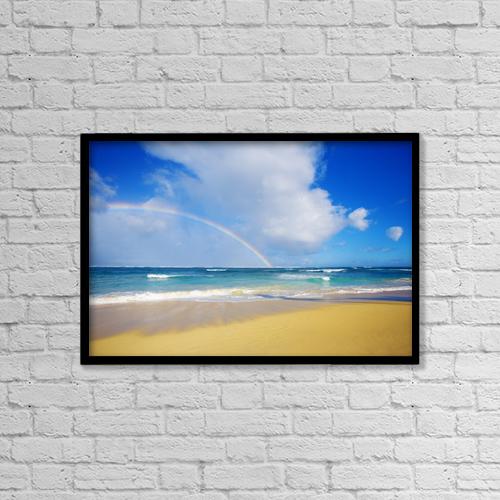 "Printscapes Wall Art: 18"" x 12"" Canvas Print With Black Frame - USA, Hawaii, Rainbow at Baldwin Beach; Maui by Ron Dahlquist"