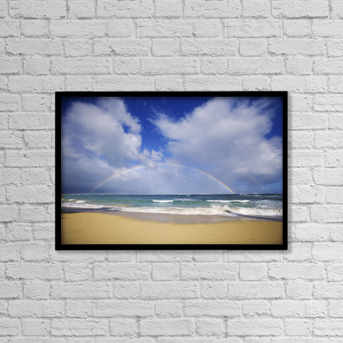 "Printscapes Wall Art: 18"" x 12"" Canvas Print With Black Frame - USA, Hawaii, Rainbow at Baldwin Beach; Maui by Ron Dahlquist"