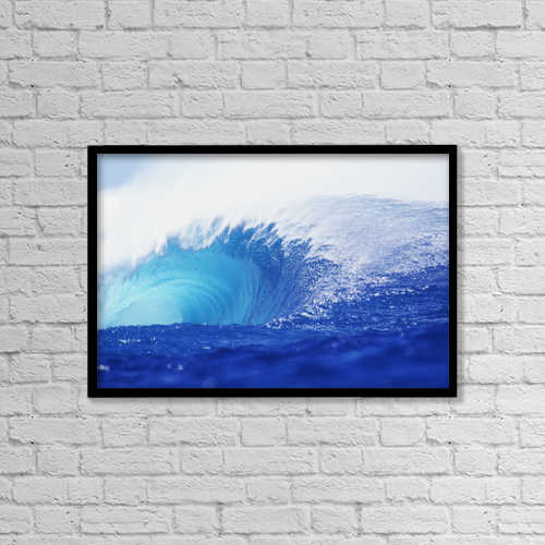 "Printscapes Wall Art: 18"" x 12"" Canvas Print With Black Frame - Hawaii, Oahu, Perfect Wave At Pipeline by Vince Cavataio"