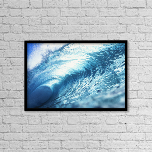 """Printscapes Wall Art: 18"""" x 12"""" Canvas Print With Black Frame - Hawaii, Oahu, Perfect Wave At Pipeline by Vince Cavataio"""
