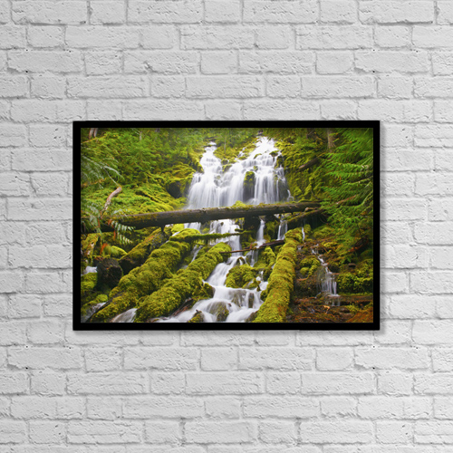 "Printscapes Wall Art: 18"" x 12"" Canvas Print With Black Frame - Proxy Falls In Willamette National Forest by Craig Tuttle"