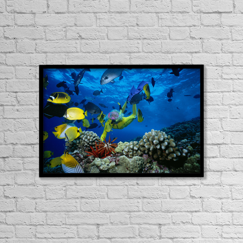 """Printscapes Wall Art: 18"""" x 12"""" Canvas Print With Black Frame - Travel by Ed Robinson"""