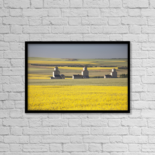 "Printscapes Wall Art: 18"" x 12"" Canvas Print With Black Frame - Farm Structures by Michael Interisano"
