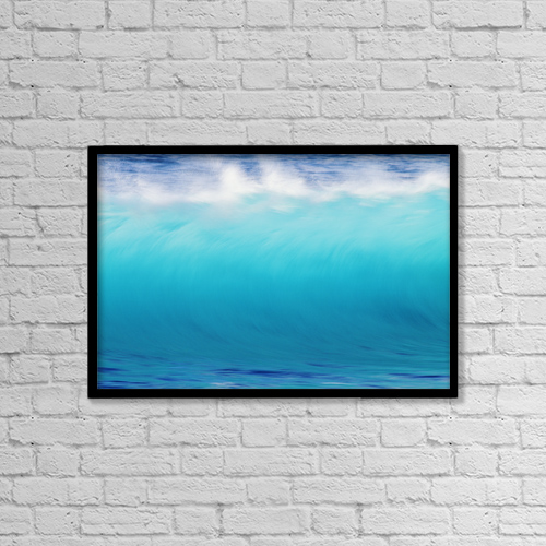 "Printscapes Wall Art: 18"" x 12"" Canvas Print With Black Frame - Blur Action Of Shoreline Waves Crashing by Vince Cavataio"