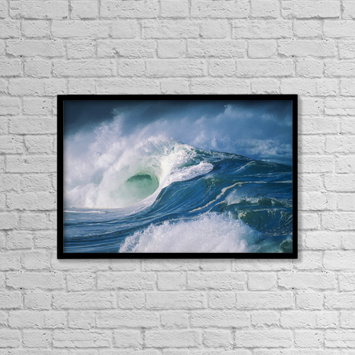 """Printscapes Wall Art: 18"""" x 12"""" Canvas Print With Black Frame - Turbulent Shorebreak Waves With Whitewash by Vince Cavataio"""