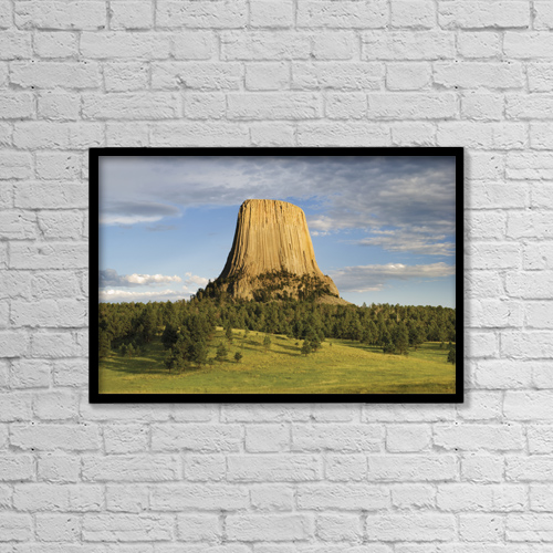 "Printscapes Wall Art: 18"" x 12"" Canvas Print With Black Frame - Devils Tower National Monument by Philippe Widling"
